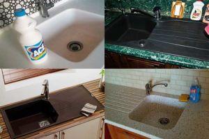 Способы почистить кухонную раковину из искусственного камня